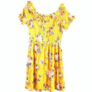 Xhilaration Yellow Floral Dress Medium #D1-105